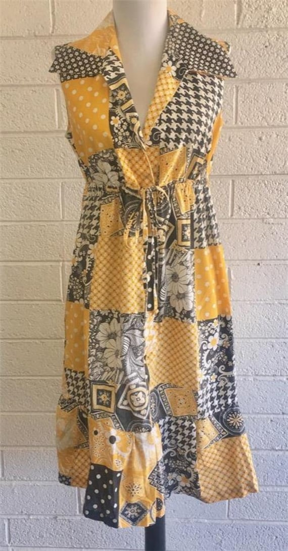 Vtg Patchwork Dress sz 10 Oasis VLV Long Yellow 1… - image 1