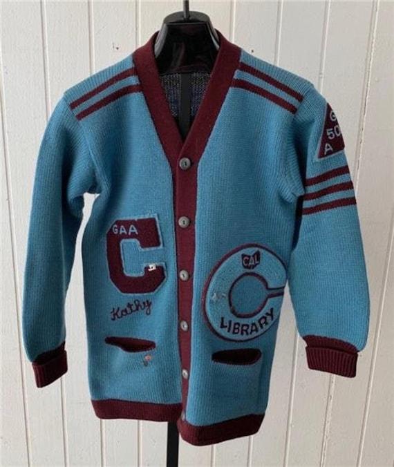 Englewood Letterman Sweater sz L 1950's Blue & Mar