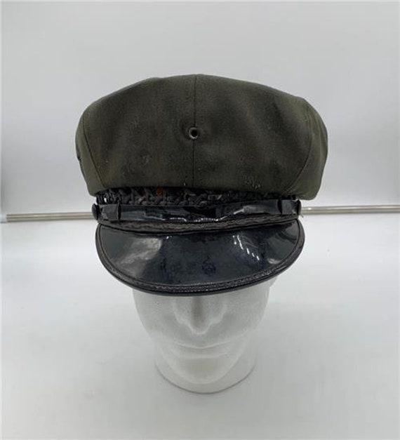 Vtg 1940's Crusher Peaked Cap sz 6 3/4 1940's Gree