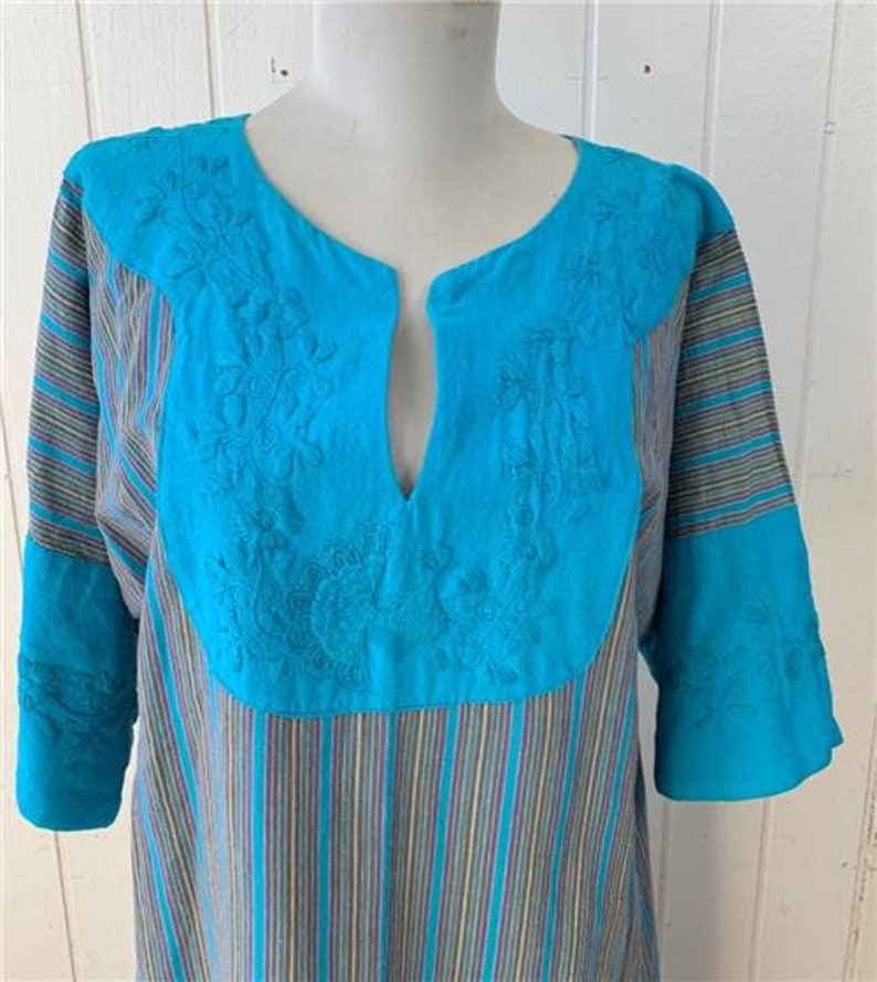 Vtg 1960/'s LA CASA ROSA Embroidered Maxi Long Dress sz M Blue Stripe Boho Floral