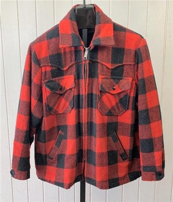 1950s Carter/'s Plaid Wool Hunting Jacket Coat size 42 Large Red Black Excellent Condition
