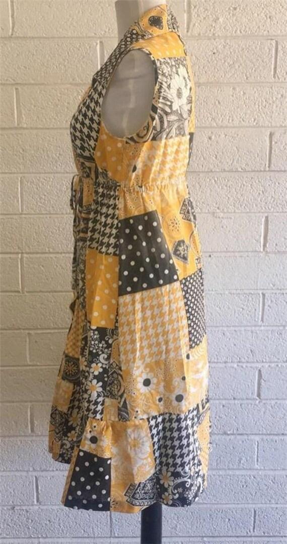 Vtg Patchwork Dress sz 10 Oasis VLV Long Yellow 1… - image 3