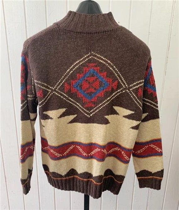 1980's LAUREN Knit Sweater Medium Brown Red Cream… - image 2