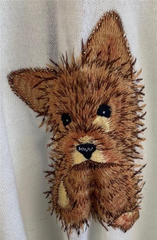 Vintage 60/'s V-Neck Sweater sz Large Cream Embroidered Scottie Dog Liteweight