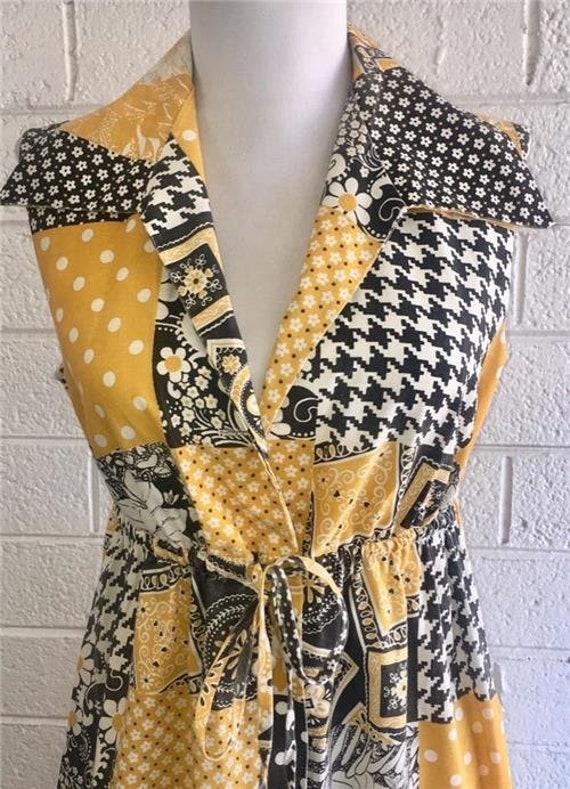 Vtg Patchwork Dress sz 10 Oasis VLV Long Yellow 1… - image 4