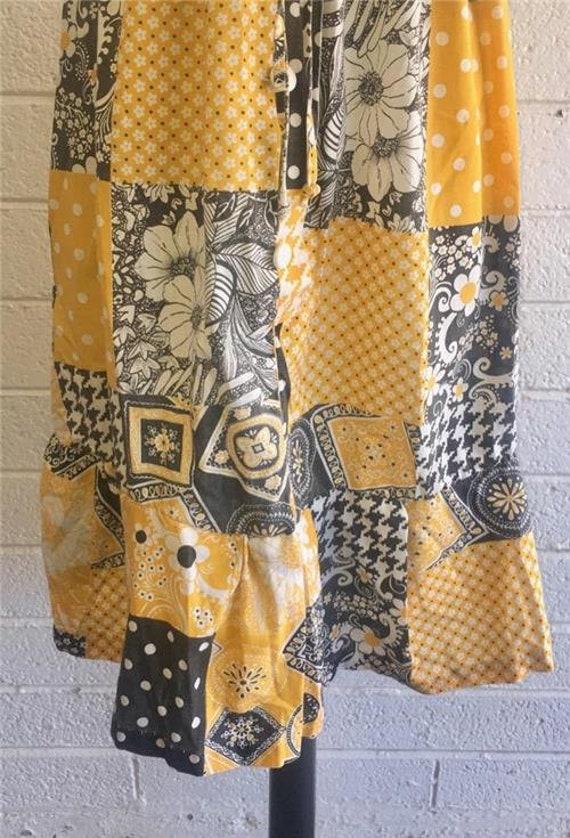 Vtg Patchwork Dress sz 10 Oasis VLV Long Yellow 1… - image 5