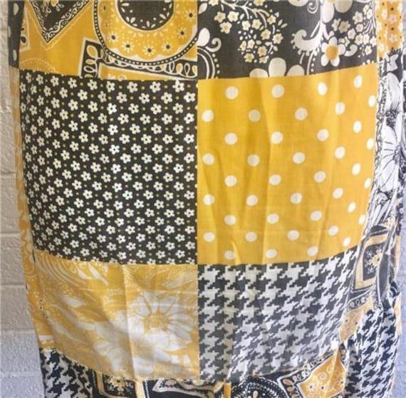 Vtg Patchwork Dress sz 10 Oasis VLV Long Yellow 1… - image 7