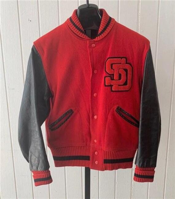 Vtg 60's College Letterman Jacket Sz Medium Red &