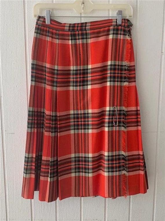 Vtg 1970's Ed Behan's Tartan Skirt sz Med Punk Red