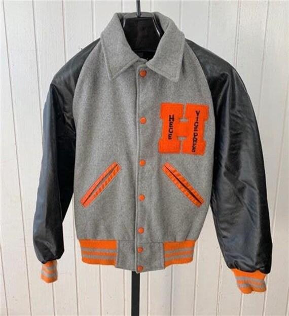 Vtg 50's Letterman Jacket Sz Medium Grey Orange &