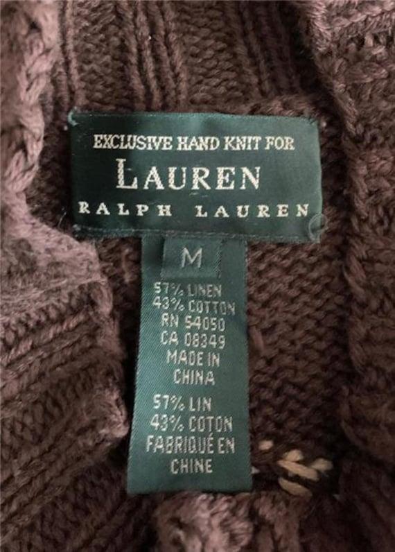 1980's LAUREN Knit Sweater Medium Brown Red Cream… - image 4