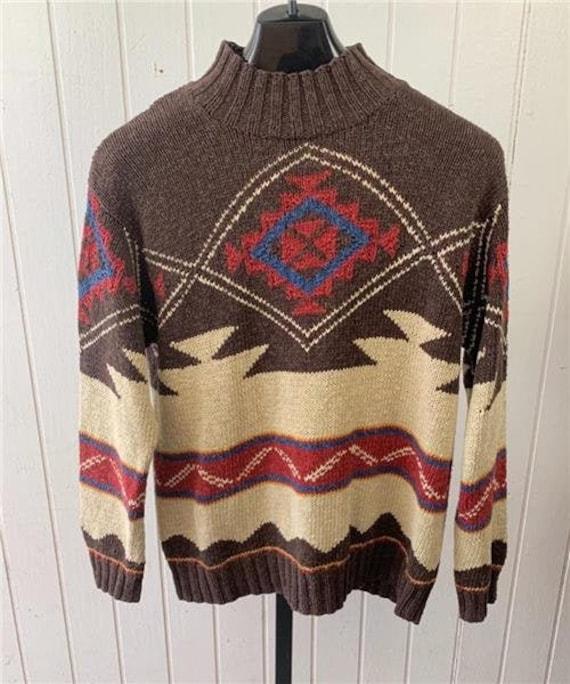 1980's LAUREN Knit Sweater Medium Brown Red Cream… - image 1