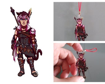Acrylic charm commissions - any character, any fandom! OCs, FFXIV Warrior of Light, DnD characters and personalised portraits welcome