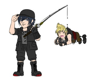 FFXV Noctis and Prompto fishing - double charm