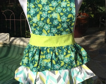 Blue and green ruffled apron.