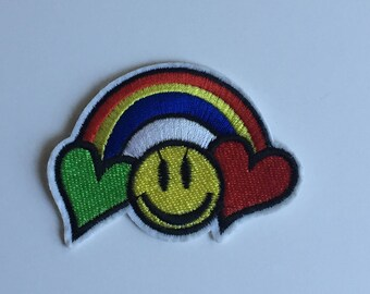 rainbow, smile face, hearts Iron on patch