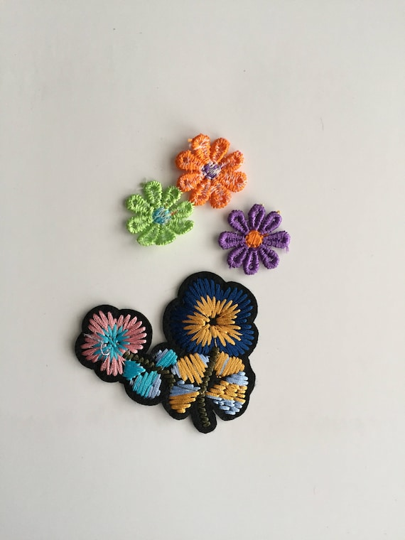 Green Orange Small Apartment Living Room Decor: Flowers Iron On Patch..Small Green Orange And Purple Are
