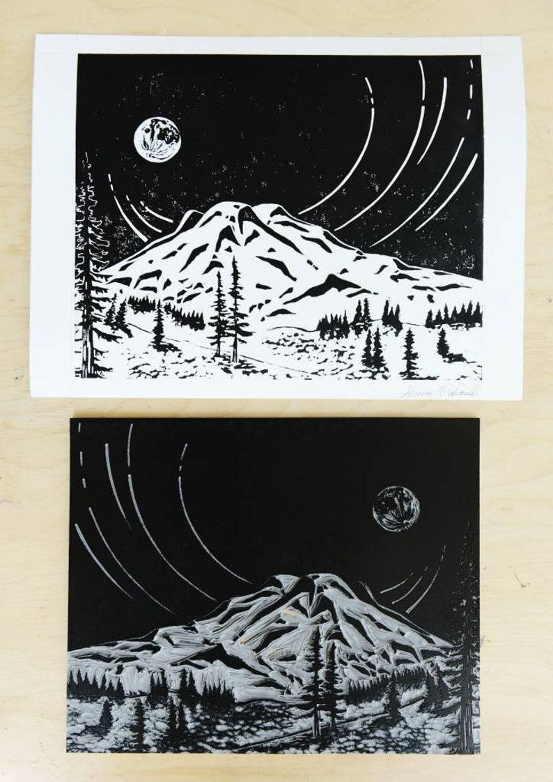Mount Rainier Linoleum Print