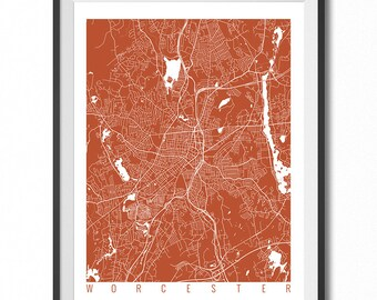 WORCESTER Map Art Print / Massachusetts Poster / Worcester Wall Art Decor / Choose Size and Color