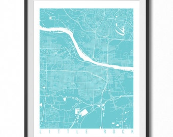 LITTLE ROCK Map Art Print / Arkansas Poster / Little Rock Wall Art Decor / Choose Size and Color
