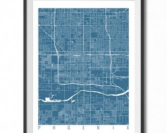 PHOENIX Map Art Print / Arizona Poster / Phoenix Wall Art Decor / Choose Size and Color