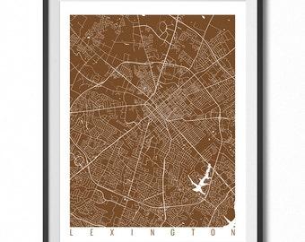LEXINGTON Map Art Print / Kentucky Poster / Lexington Wall Art Decor / Choose Size and Color
