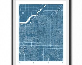 MESA Map Art Print / Arizona Poster / Mesa Wall Art Decor / Choose Size and Color