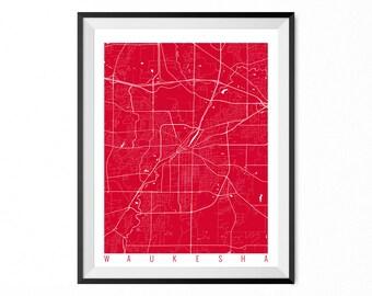 Waukesha Map Art Print / Waukesha City Poster / Waukesha Wall Art / Wisconsin/ Gift / Wisconsin home decor