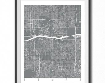 TEMPE Map Art Print / Arizona Poster / Tempe Wall Art Decor / Choose Size and Color