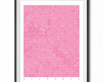 GLENDALE Map Art Print / Arizona Poster / Glendale Wall Art Decor / Choose Size and Color