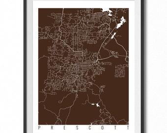 PRESCOTT Map Art Print / Arizona Poster / Prescott Wall Art Decor / Choose Size and Color
