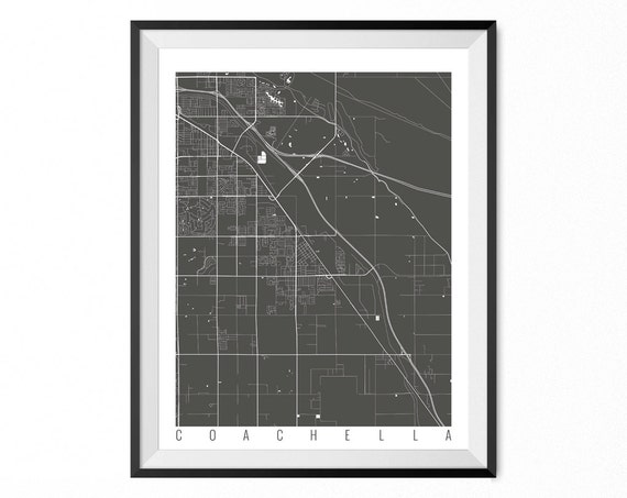 Coachella Map Art Print Coachella City Poster Coachella Etsy