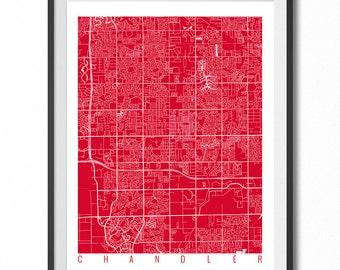 CHANDLER Map Art Print / Arizona Poster / Chandler Wall Art Decor / Choose Size and Color