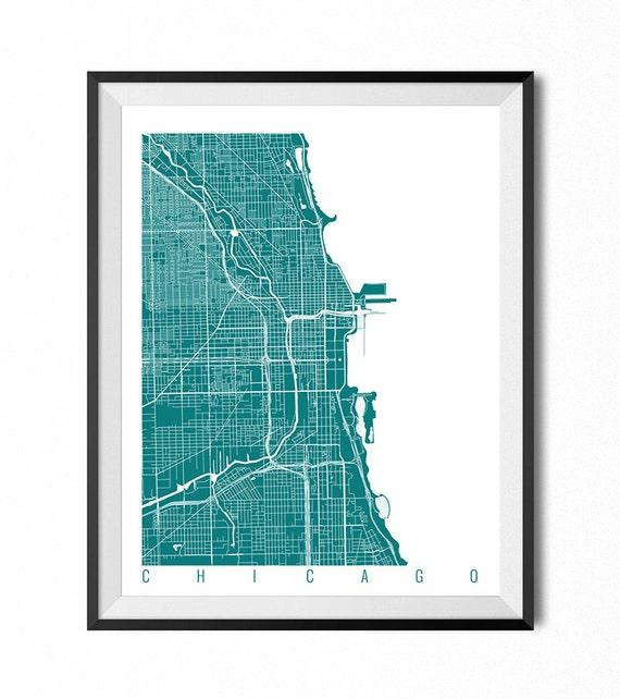 Chicago Chicago Map Chicago Illinois Map Chicago Map Print | Etsy