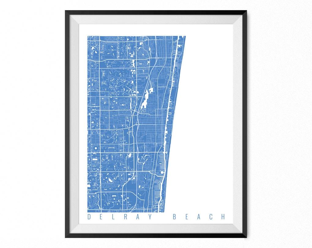 Delray Beach Map Art Print Delray Beach City Poster Delray Etsy