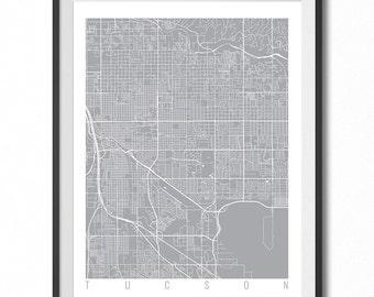 TUCSON Map Art Print / Arizona Poster / Tucson Wall Art Decor / Choose Size and Color