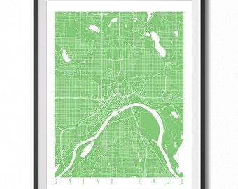 SAINT PAUL Map Art Print / Minnesota Poster / Saint Paul Wall Art Decor / Choose Size and Color
