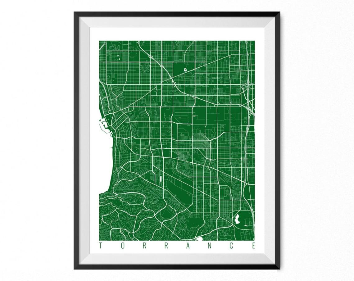 Torrance City Map Art Print Torrance Poster Torrance Wall Etsy
