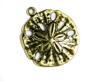 15mm  Made in USA #TB136G 22 Antique Gold Plated Sand Dollar Charms