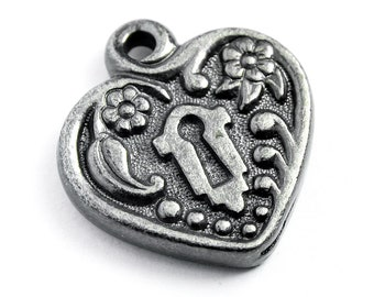 Gunmetal Victorian Keyhole Heart Frame, 20x19mm, Set of 2,  Made in USA, #TC147