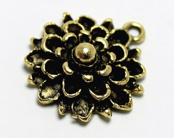 "Mum Flower Charm, 24K Gold Plated Mum Pendant, 3/4"", Made in USA, #N145"