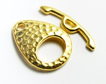 Hammered Teardrop Toggle Clasps, Gold Plated Tierracast,  Made in USA, #TC108