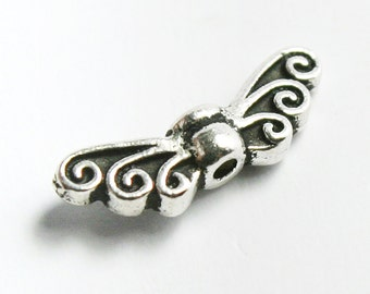 Fine Antique Silver Plated Fairy Wings Bead, 4.5 x 13.5 mm, Set of 4, Made in USA, #TC119