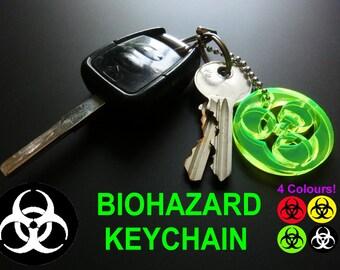BIOHAZARD SYMBOL Key Chain/Keyring/Neon/Rave/Party/BLACK