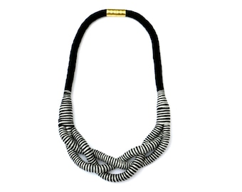 Gray Black Braided Rope Necklace For Women, Modern Statement Necklace For Her, Unique Textile Jewelry