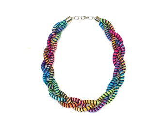 Rainbow Statement Necklace For Women, Unique Textile Jewelry For Her
