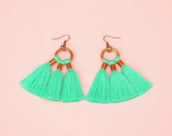 Turquoise Green Tassel Statement Earrings, Boho Tassel Earrings, Big Colorful Fringe Earrings, Copper Hoop Earrings, Unique Gift For Her