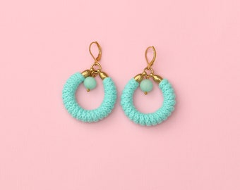 Mintfarbene Seil Ohrringe mit Jade-Perlen