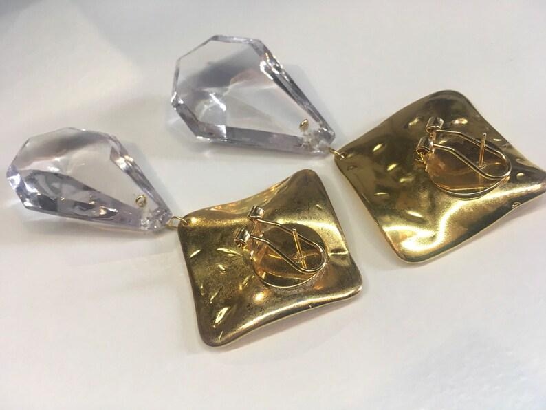 upcycled summer earrings Chandelier earrings repurposed materials 80s earrings crystal drop earrings gold earrings xl earrings