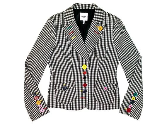 Moschino blazer, gingham blazer, Checkered blazer,